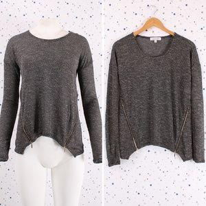 Double Zipper Hacci Sweater Knit Top Long Sleeve